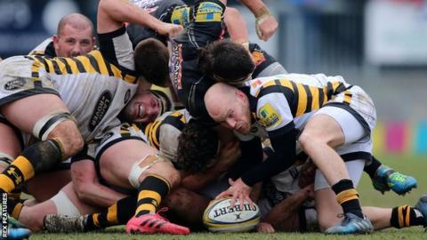 Joe Simpson scored the last of the game's 10 tries to earn Wasps a 35-35 draw at Exeter in February