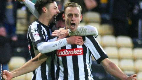 Louis Laing celebrates scoring for Notts County