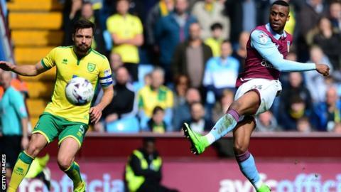 Jonathan Kodija scores Villa's opening goal against Norwich
