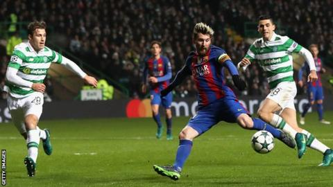 Barcelona's Lionel Messi scores against Celtic in this season's Champions League