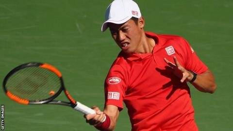 Kei Nishikori in action against Dan Evans
