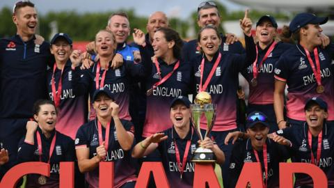 England captain Heather Knight and team-mates celebrate after winning the ICC Women's World Cup 2017 Final between England and India at Lord's Cricket Ground on July 23, 2017 in London, England