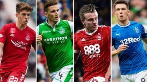 Nottingham Forest's Jason Cummings, Hibs' Paul Hanlon, Aberdeen's on-loan Celtic player Ryan Christie and Ryan Jack of Rangers have made the national squad