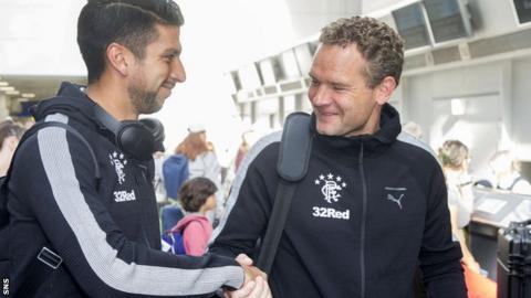 Rangers coach Jonatan Johansson with recent signing Eduardo Herrera