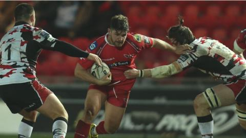 Kirby Myhill in action for Scarlets