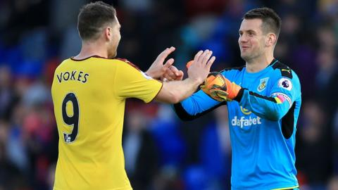Tom Heaton and Sam Vokes at full-time