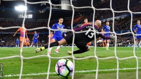 Hazard scored on the rebound from his missed penalty