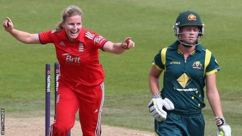 Holly Colvin celebrates the wicket of Australia's Meg Lanning in 2013
