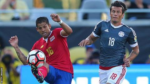 Cristian Gamboa playing for Costa Rica against Paraguay