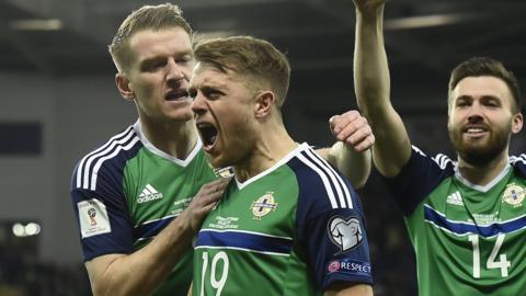 Jamie Ward celebrates scoring against Norway