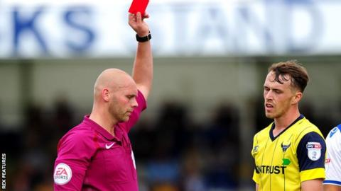 Sam Long sent off against Bristol Rovers