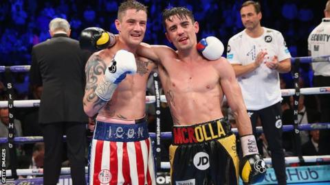 Anthony Crolla and Ricky Burns embarce after the fight