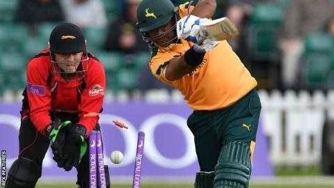 Nottinghamshire's Samit Patel bowled by Leicestershire's Kevin O'Brien