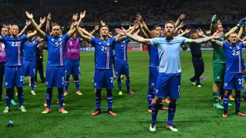 Iceland players celebrate