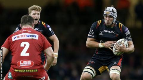 Ollie Griffiths in action against Scarlets