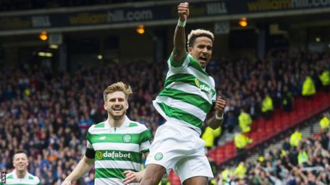 Scott Sinclair celebrates a goal against Rangers
