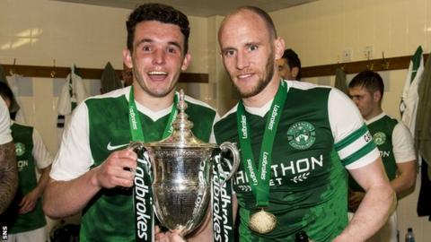John McGinn and David Gray with the Scottish Championship trophy