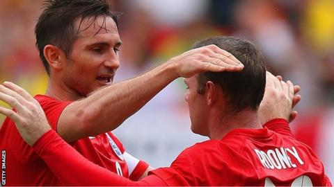 Lampard and Rooney have won 221 caps between them