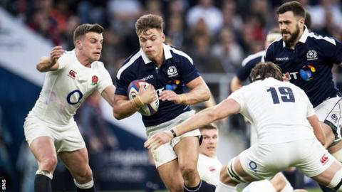 Huw Jones playing for Scotland against England