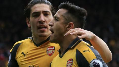 Arsenal's Alexis Sanchez celebrates