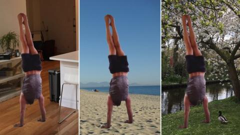 graphic showing a man doing a handstand in three different environments: in the kitchen, on the beach and in a park.