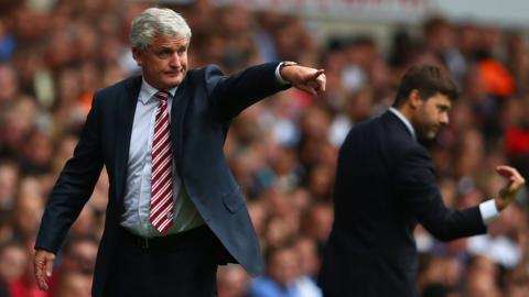 Stoke manager Mark Hughes and Tottenham boss Mauricio Pochettino