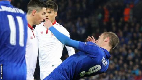 Samir Nasri picked up a second yellow card in the 74th minute for a clash of heads with Jamie Vardy