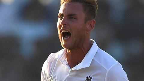 England bowler Stuart Broad in the thick of the action in Chittagong
