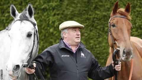 Trainer Paul Nicholls with Politologue, left, and Movewiththetimes