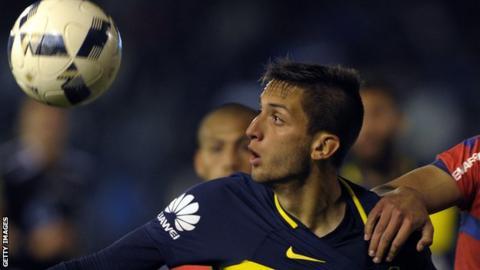 Boca Juniors midfielder Rodrigo Bentancur who is having a medical at Juventus
