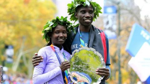 Mary Keitany and Stanley Biwott
