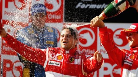 Felipe Massa celebrates winning the 2006 Turkish Grand Prix