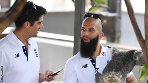 Alastair Cook (left) and Moeen Ali