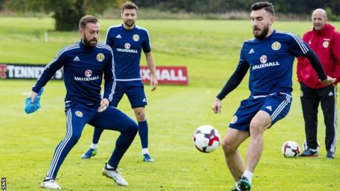 Steven Fletcher (left) looks on as Robert Snodgrass plays a pass in Scotland training on Friday