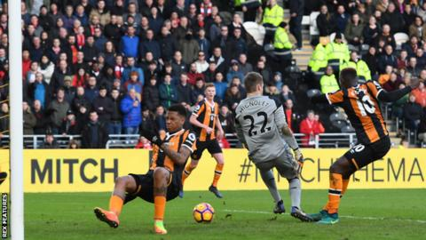 Hull City take the lead against Liverpool