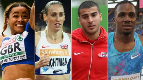Jazmin Sawyers, Laura Weightma, Adam Gemili and CJ Ujah