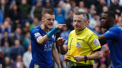 Leicester will be without Jamie Vardy for the first time this season in a league game after his sending off.