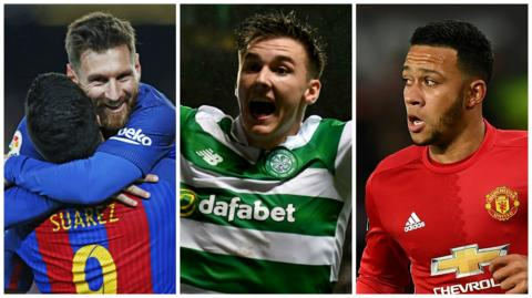 Barcelona's Lionel Messi, Celtic's Kieran Tierney and Manchester United's Memphis Depay