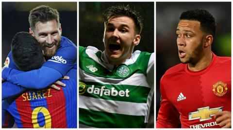 Barcelona's Lionel Messi, Celtic's Kieran Tierney and Manchester United's Memphis Depay