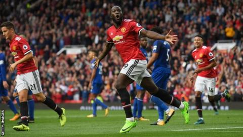 Romelu Lukaku in action for Manchester United