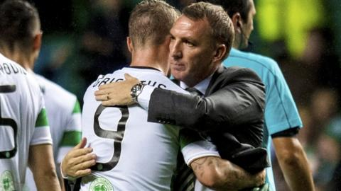 Brendan Rodgers embraces Leigh Griffiths