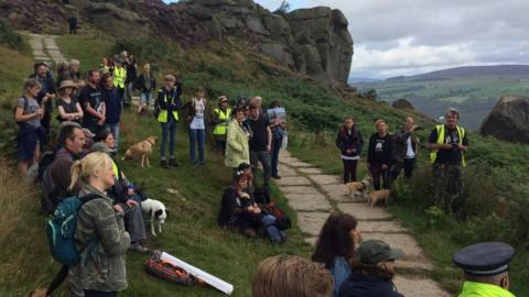 Protestors met at Cow and Calf Rocks on Hangingstone Road in Ilkley and walked to the top of the famous moor