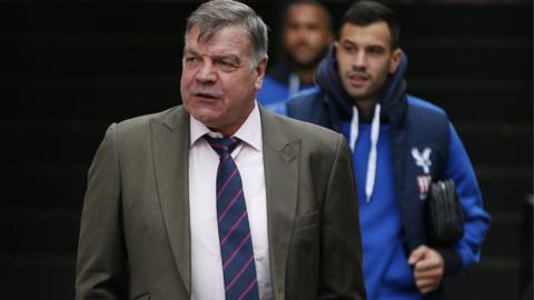 Crystal Palace manager Sam Allardyce arrives at Selhurst Park