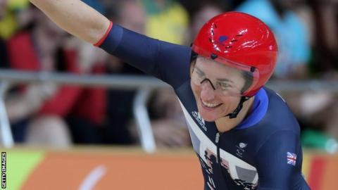 Dame Sarah Storey celebrates winning gold in Rio