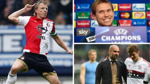 Dirk Kuyt, Alex Hleb, Pep Guardiola and Thomas Muller