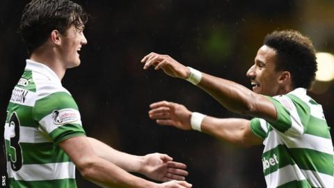 Celtic's Liam Henderson and Scott Sinclair celebrate