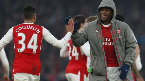 Arsenal celebrate win against Burnley