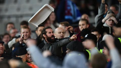 Fans clash at the London Stadium