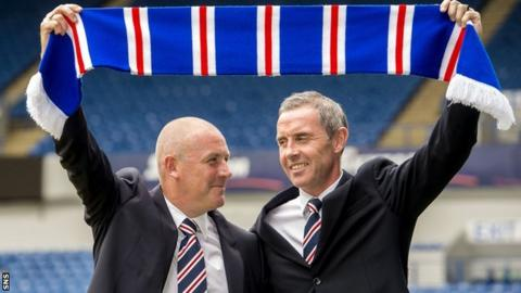 Rangers manager Mark Warburton and assistant David Weir