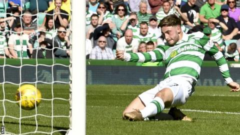 Patrick Roberts scores his second goal for Celtic